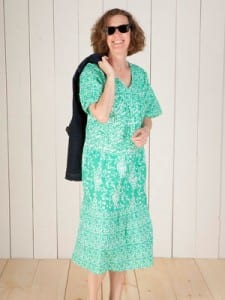 Jane in her Mint Flutter Sleeve Muumuu
