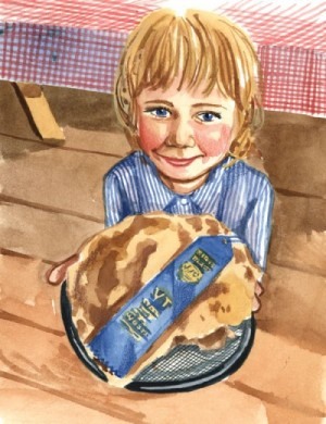 child with award winning pie painting