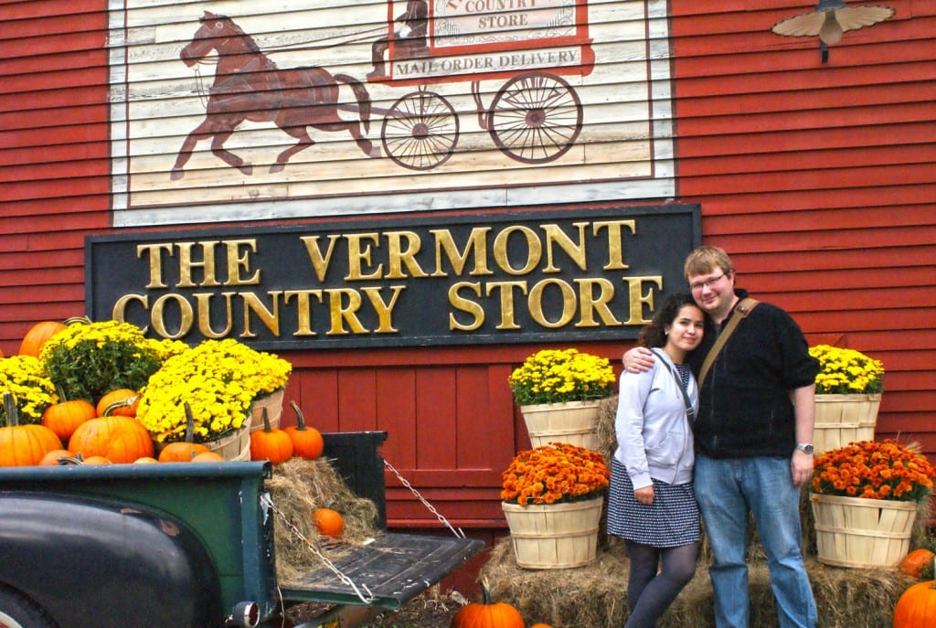Visitors enjoy having their photo taken with the fall decor
