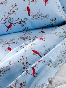 Cardinal and Chickadee Portuguese Flannel Sheet Set