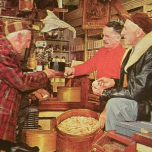 Vrest Orton and customers at The Vermont Country Store