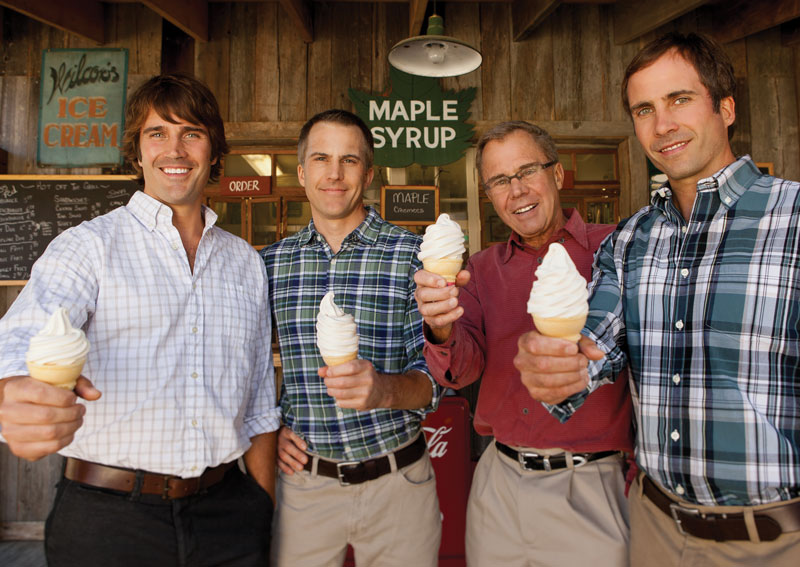 Eliot, Cabot, Lyman, and Gardner Orton enjoying a maple creemee at Mildred's Dairy Bar in Weston, Vermont.