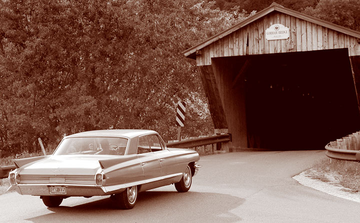 1962 Cadillac covered bridge