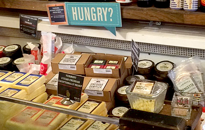 Cheese Samples at the Vermont Country Store