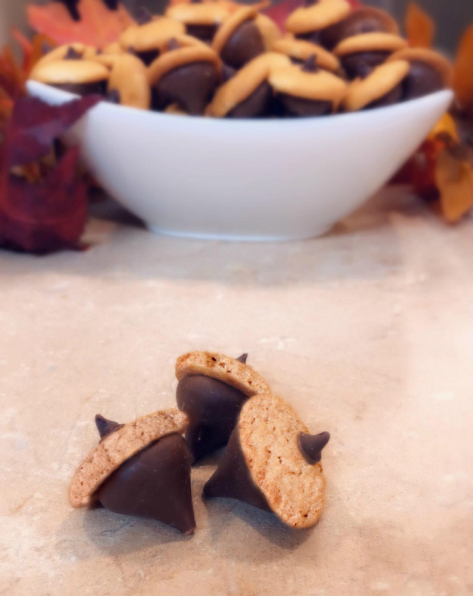 3 chocolate acorns cookies