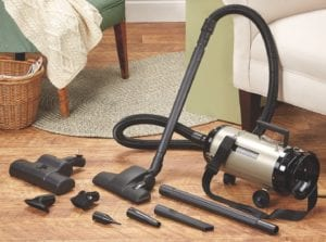 steel canister vacuum with attachments