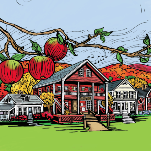 illustration of the Vermont Country Store in fall