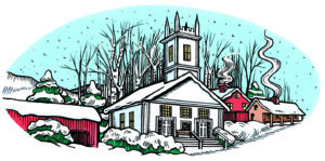 illustrated winter church in vermont