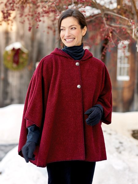 woman modeling Red Fleece and Wool Cape in winter