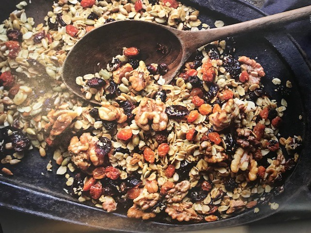 Vermont Lumberjack Granola with wooden spoon