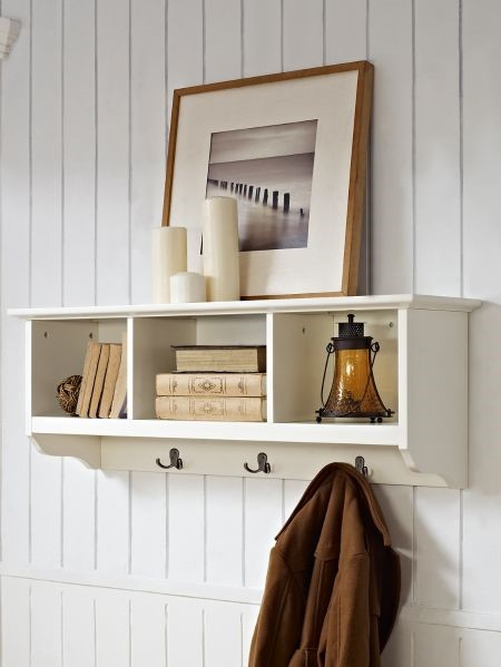 white Coat rack with open shelves