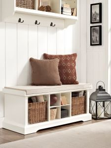 Entryway with storage bench and coat rack