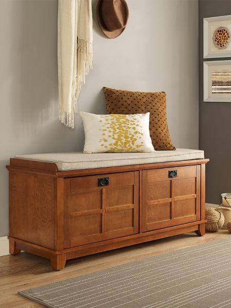 wooden storage bench with pad