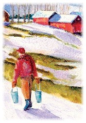 man carrying maple syrup in vermont