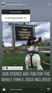 dogs are welcome at The Vermont Country Store