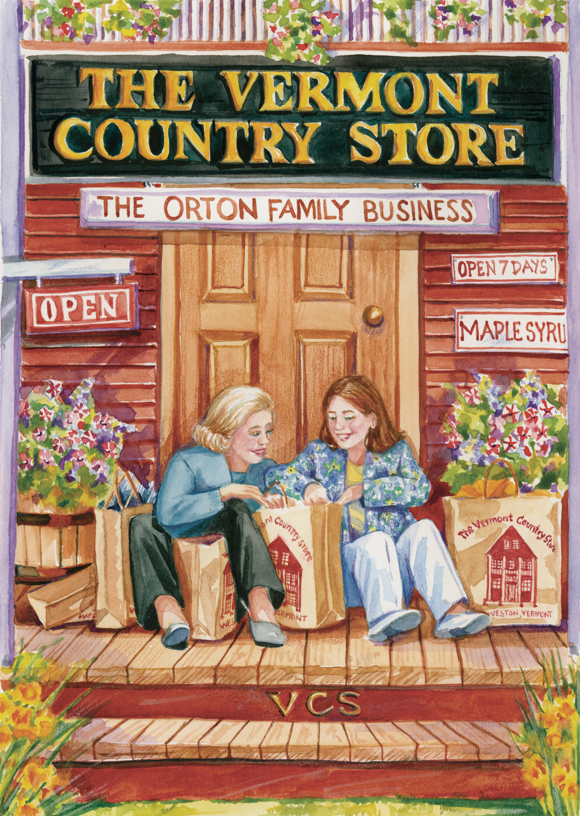 The Vermont Country Store illustration, The Vermont Country Store, The Orton Family Business, Open, Open 7 days, maple syrup, VCS