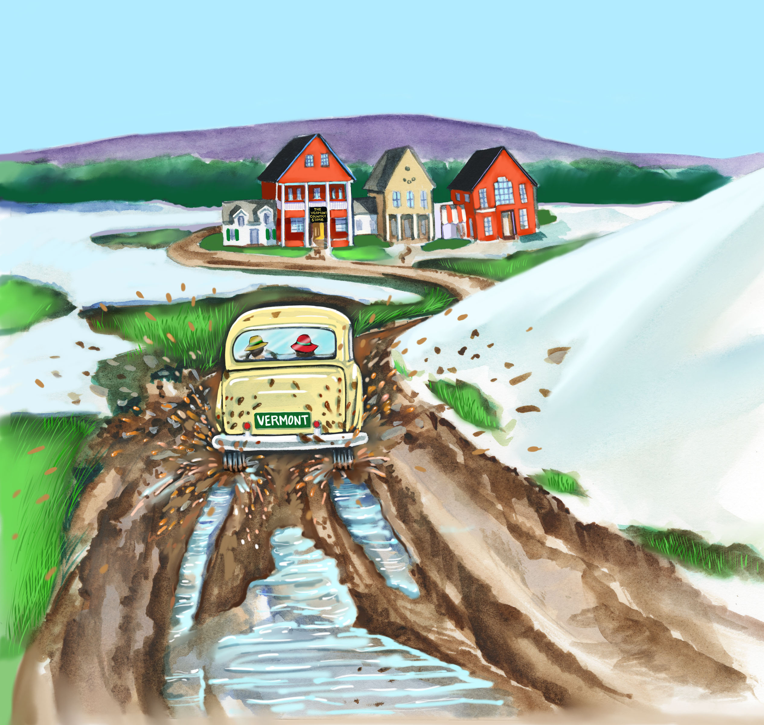water color illustration of a car with Vermont license plates, driving in the mud, on the way to the Vermont Country Store