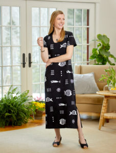 Black Short Sleeve M.MAC Maxi Dress
