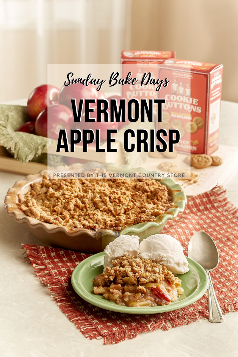 Sunday Bake Days Vermont Apple Crisp, presented by Vermont Country Store, apple crisp with ice cream, ready to eat