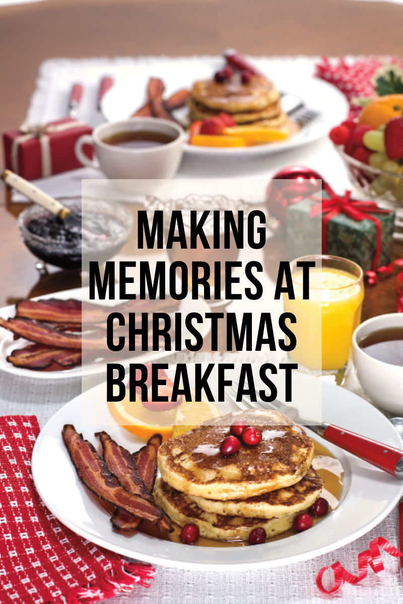 making memories at christmas breakfast, pancakes, bacon, syrup, orange juice and team, ready for eating