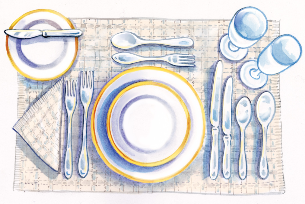 illustration of a table setting following the directions above