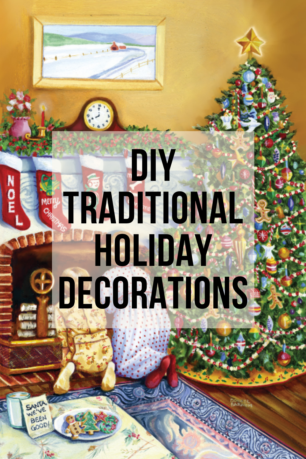 DIY Traditional Holiday Decorations with Kids waiting by the chimney for santa