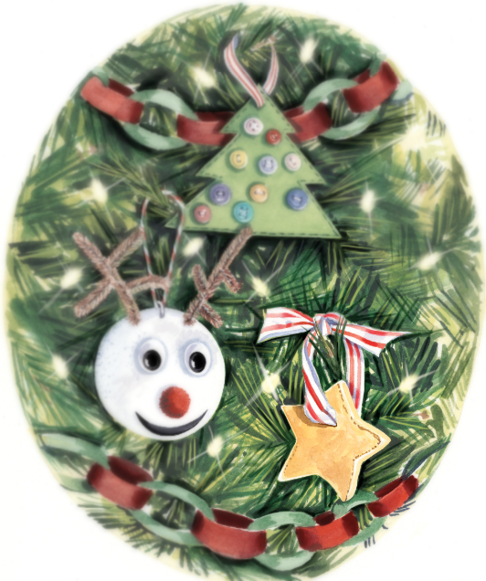 illustrated handmade ornaments featuring a salt dough star with paper chains, styrofoam reindeer, and felt tree with buttons