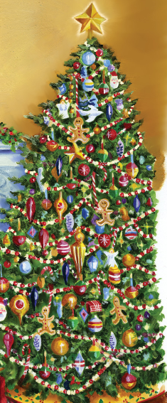 illustration of a christmas tree full or decorations including strands of popcorn and cranberries