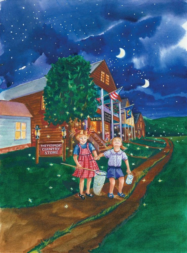 illustration of children chasing fireflies at dusk