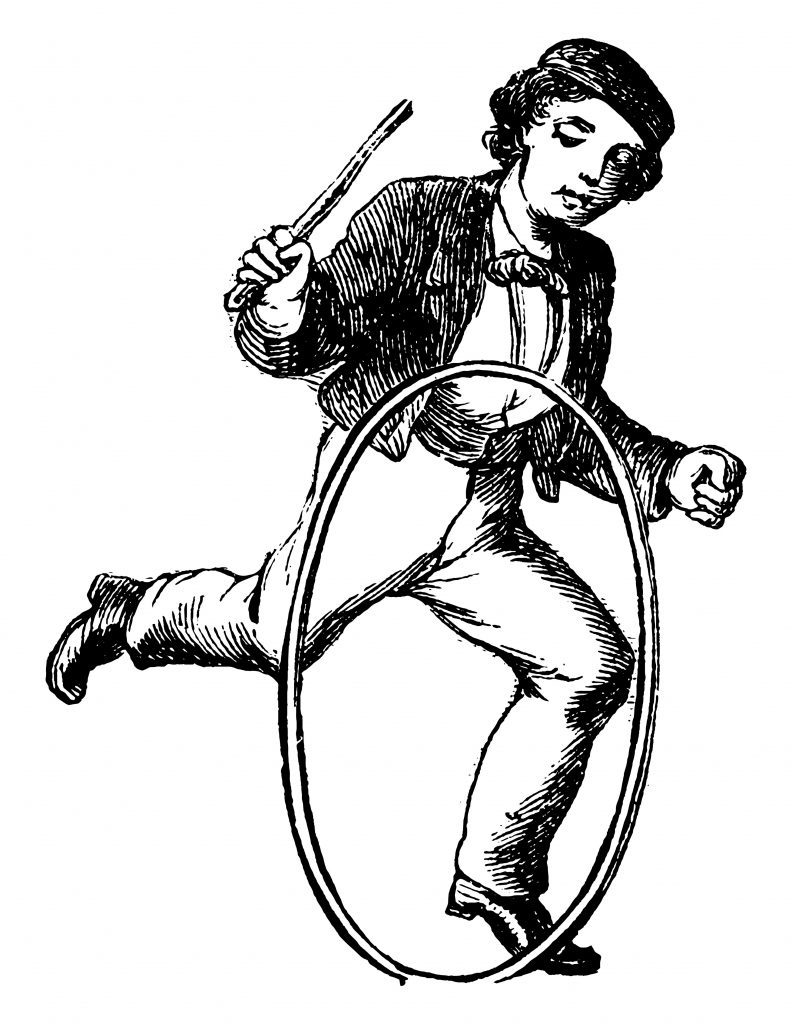 A boy playing with toy hoop by hands and hoop is rolling in ground, vintage line drawing or engraving illustration.